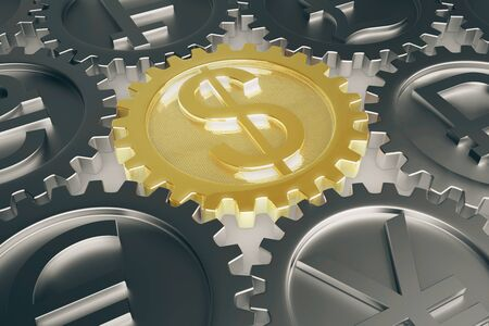 dependance: Financial system concept with different coin gears. Closeup, 3D Rendering