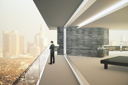 Interior design with business people and panoramic city view with sunlight. 3D Render