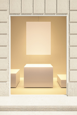 mall: Rectangular showcase exterior with blank poster and stand. Mock up, 3D Rendering Stock Photo