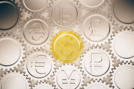 dependance: Financial system concept with different coin gears. 3D Rendering