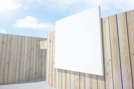 architectural exterior: Abstract wooden architectural exterior with white billboard. Mock up, 3D Render