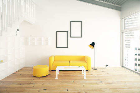 yellow walls: Living room interior design with yellow sofa, blank picture frames, shelves and beige walls. 3D Render