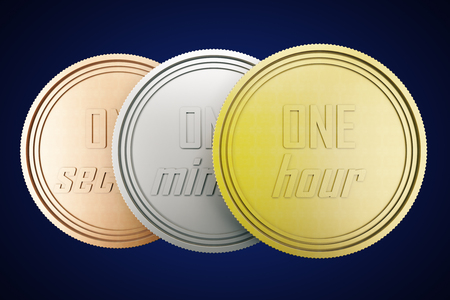 silver coins: Time is money concept with time coins in gold, silver and copper isolated on dark blue background. 3D Rendering