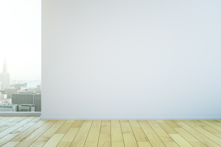 Blank white wall in interior with wooden floor and city view. Mock up, 3D Rendering Stock Photo