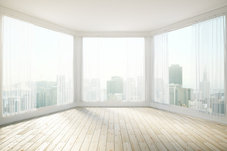 sunlit: Sunlit interior design with panoramic windows revealing city view. 3D Rendering