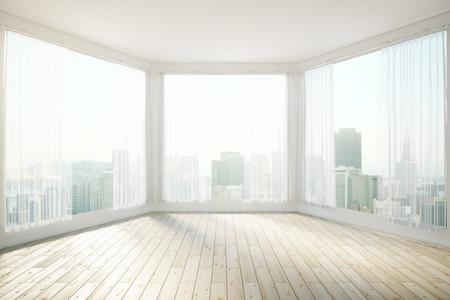 Zonovergoten inter design met panoramische ramen onthullend uitzicht op de stad. 3D Rendering