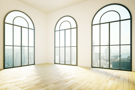 spacious: Spacious interior design with three large windows, city view and wooden floor. 3D rendering