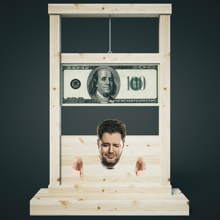 guillotine: Debt concept with man about to get his head chopped off on a light wooden guillotine, isolated on dark background. 3D Rendering