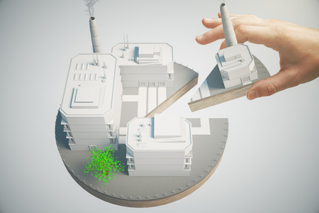 Aandeelhouder concept met mannelijke hand nemen stuk van het bedrijfsleven taart. 3D Rendering Stockfoto