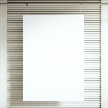 blinders: Blank white poster hanging in front of light blinders. Mock up, 3D Rendering