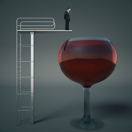 Alcohol addiction concept with businessman about to jump into huge wine glass on dark background. 3D Rendering