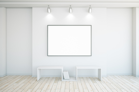 Blank picture frame in concrete interior with wooden floor. Mock up, 3D Rendering
