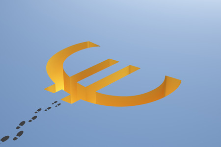 making hole: Financial risk concept with euro sign pit and footprints on blue background. 3D Rendering