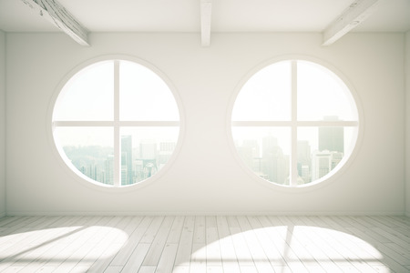sunlit: Sunlit interior design with wooden floor and round windows revealing city view. 3D Rendering