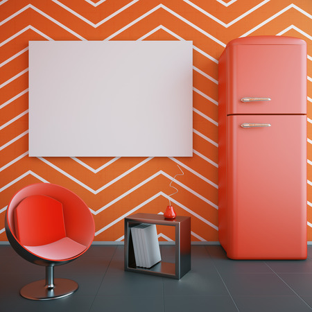 blank poster: Red kitchen interior with blank banner on wall, fridge, chair and decorative stand. Mock up, 3D Rendering