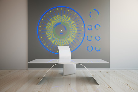 futuristic interior: Futuristic interior with chair, table and abstruse pattern on wall. 3D Rendering