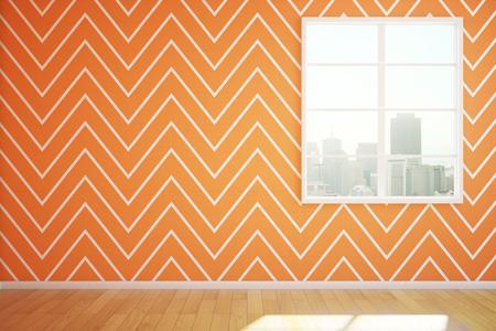 spacious: Orange room interior with window, zigzag wallpaper and sunlight. 3D Rendering Stock Photo