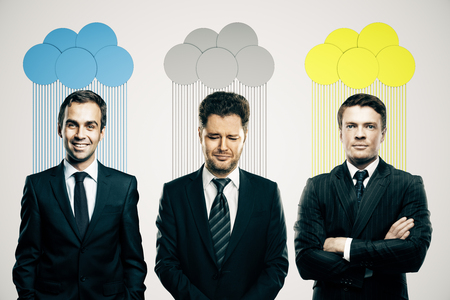 frowning: Abstract colorful clouds over heads of smiling and frowning business people on light background