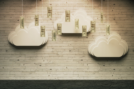 money rain: Wealth concept with abstract money rain in room with wooden wall and horizontal planks. 3D Rendering Stock Photo