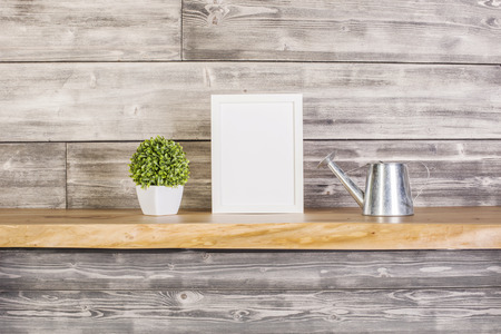 wateringcan: Blank frame, plant and watering-can on wooden background.