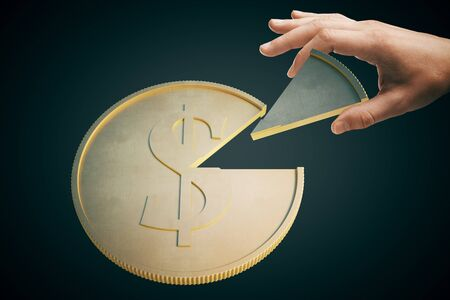 golden rule: Shareholder concept with hand taking piece of dollar coin on dark background. 3D Rendering Stock Photo