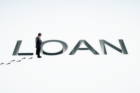 financial burden: Loan concept with businessman looking into loan pit on white background. 3D Rendering