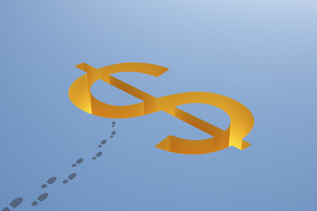making hole: Financial risk concept with dollar sign pit and footprints on blue background. 3D Rendering