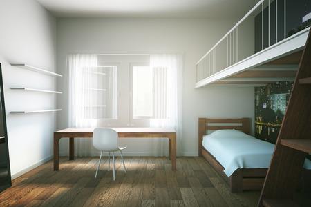 boy bedroom: Child room interior design with wooden furniture and floor. 3D Rendering