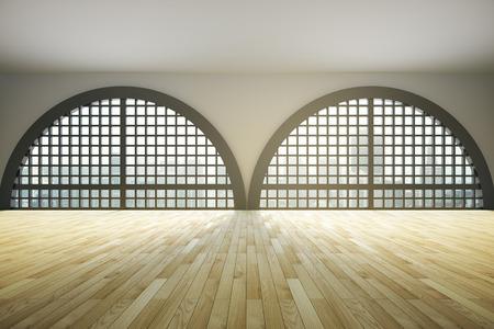 semicircular: Spacious loft interior design with huge framed semicircular windows and wooden floor. 3D Rendering