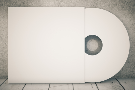 dvd case: White compact disk on concrete background. 3D Rendering