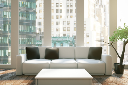 decoratio: Interior design with black pillows on sofa, white table and city view. 3D Rendering Stock Photo