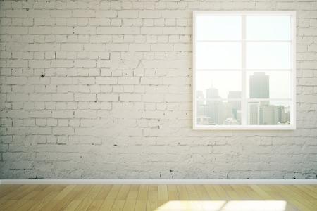 empty room: Sunlit white brick interior design with window and wooden floor. 3D Rendering