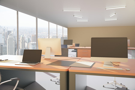 laptop screen: Office workplace with blank laptop and computer screen. 3D Rendering