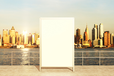 viewpoints: Observation deck with blank banner and city view during daytime. Mock up, 3D rendering Stock Photo