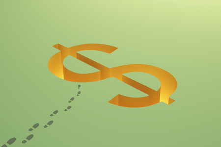 making hole: Financial risk concept with dollar sign pit and footprints on green background. 3D Rendering