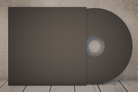 compact disk: Dark compact disk on concrete wall. Mock up, 3D Rendering