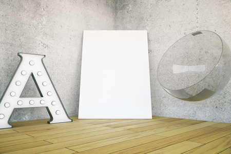blank canvas: Wooden floored room with big A letter, blank canvas and hanging chair. Mock up, 3D Rendering Stock Photo