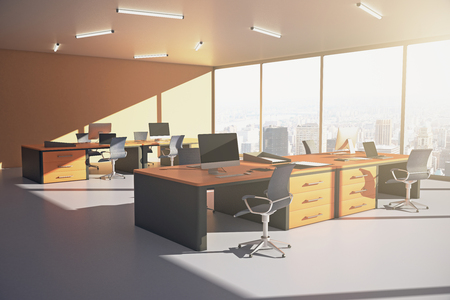 sideview: Sideview of orange office interior with city view and sunlight. 3D Rendering Stock Photo
