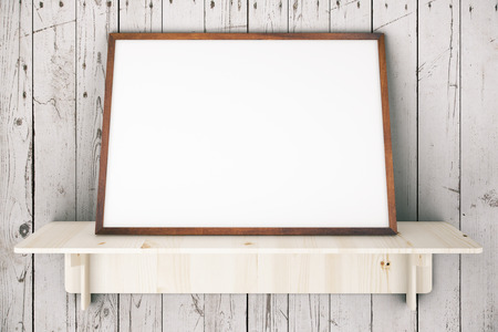 Wooden shelve with blank picture frame on aged white wooden wall. Mock up, 3D Rendering Stock Photo