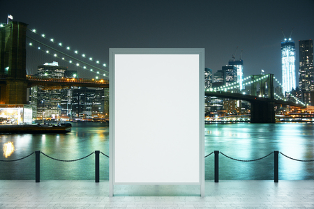 blank banner: Observation deck with blank banner and city view at night. Mock up, 3D rendering Stock Photo