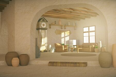 natural arch: Rural interior design with various items and sunlight. 3D Rendering