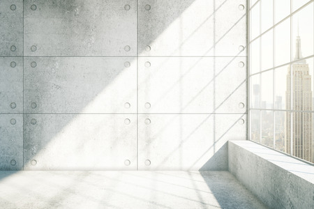 white wall: Concrete interior with sunlight and New York city view. 3D Rendering