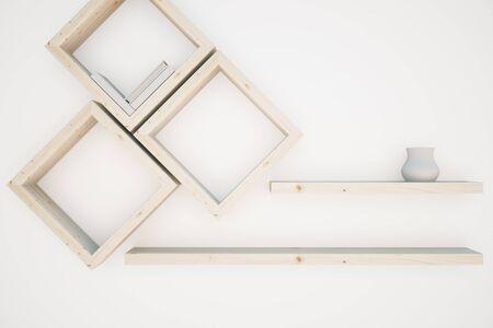 wooden shelves: Creative wooden shelves on white background. 3D Rendering Stock Photo