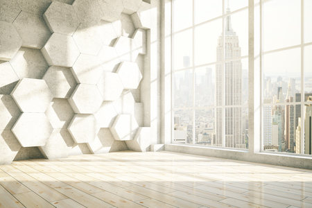 Honeycomb interior with New York city view. 3D Rendering