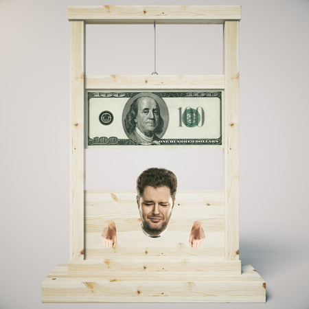 massacre: Debt concept with man about to get his head chopped off on a light wooden guillotine, isolated on white background. 3D Rendering