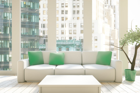 decoratio: Interior design with green pillows on couch, white table and city view. 3D Rendering