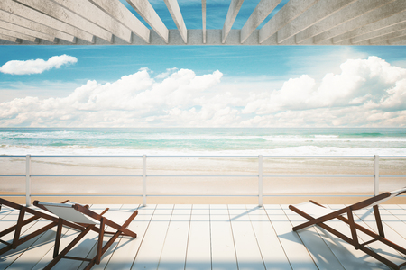 oceanside: Several chaise longues under awning at the seaside. 3D Rendering
