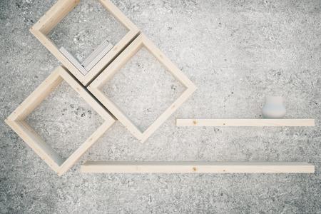 wooden shelves: Creative wooden shelves on concrete background. 3D Rendering