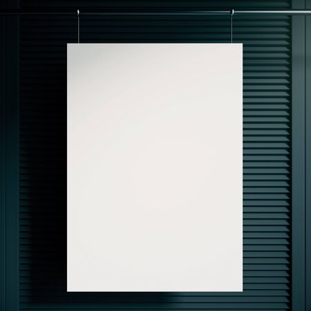blinders: Blank white poster hanging in front of blank blinders. Mock up, 3D Rendering Stock Photo