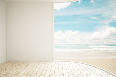 blank wall: Interior with blank wall and seaside view. Mock up, 3D Rendering